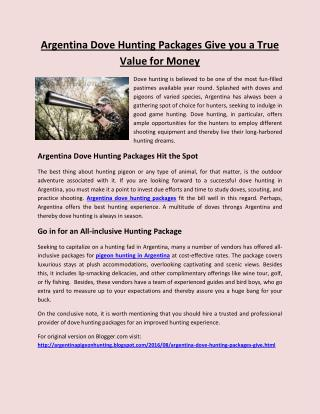 Argentina dove hunting packages give you a true value for money