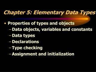Chapter 5: Elementary Data Types
