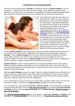 THE BENEFITS OF COUPLES MASSAGE