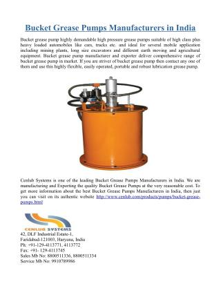 Bucket Grease Pumps Manufacturers in India