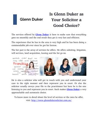 Is Glenn Duker as Your Solicitor a Good Choice