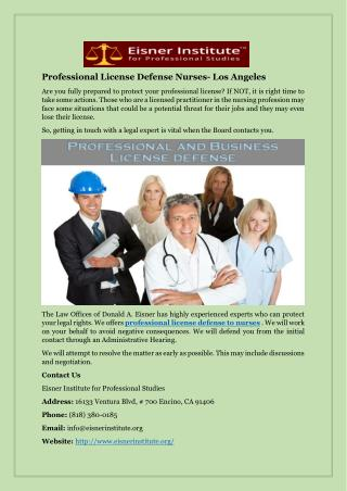 Professional License Defense Nurses- Los Angeles