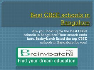 List of Top CBSE schools in Bangalore