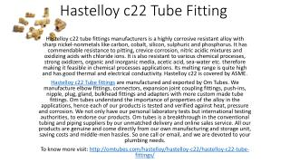 Hastelloy c22 Tube Fitting