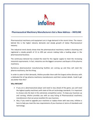 Pharmaceutical Machinery Manufacturers Got A New Address – INFOLINE