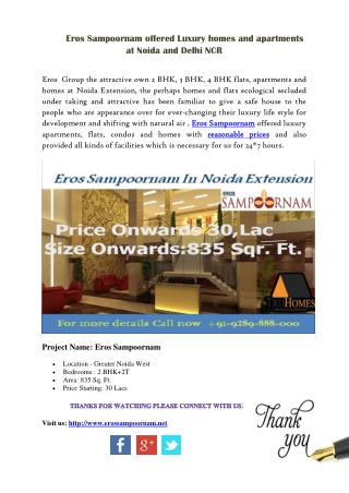 Buy Flats in Noida Extension at Eros Sampoornam