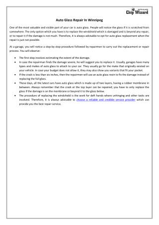 Auto Glass Repair In Winnipeg
