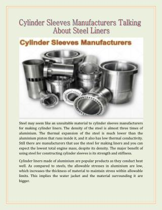 Cylinder Sleeves Manufacturers Talking About Steel Liners