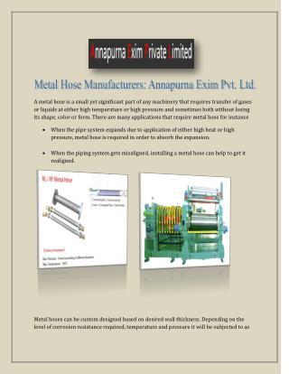 Metal Hose Manufacturers: Annapurna Exim Pvt. Ltd.