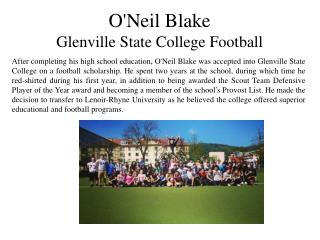 O'Neil Blake - Glenville State College Football