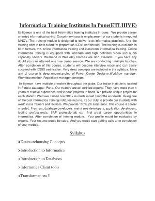 Informatica training in pune (ETLhive)