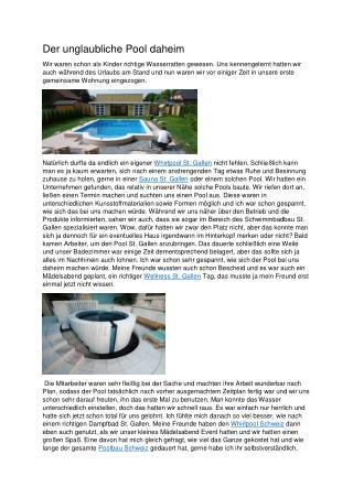 Der unglaubliche Pool daheim