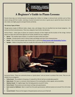 A Beginner's Guide to Piano Lessons