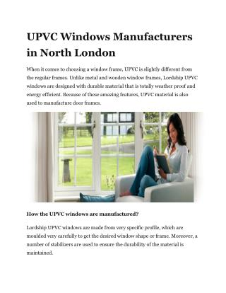 UPVC Windows Manufacturers in North London