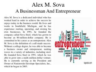 Alex M. Sova - A Businessman And Entrepreneur