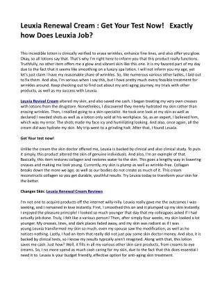 Leuxia Renewal Cream : Get Your Test Now!   Exactly how Does Leuxia Job?