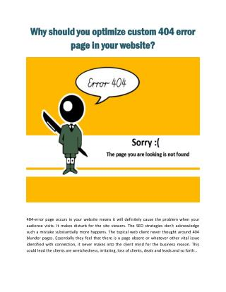 Why should you optimize custom 404 error page on your website?