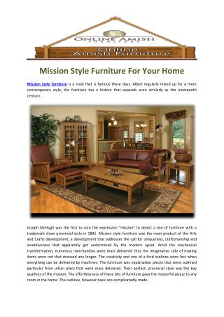 Mission Style Furniture For Your Home