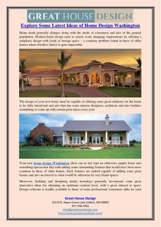 Explore Some Latest Ideas of Home Design Washington