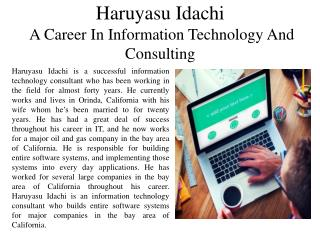 Haruyasu Idachi - A Career In Information Technology And Consulting