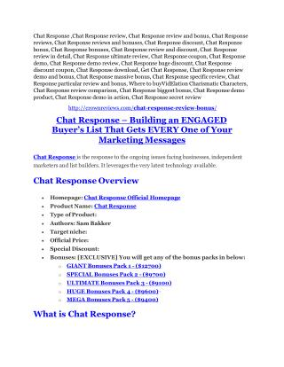 Chat Response Review-(FREE) $32,000 Bonus & Discount