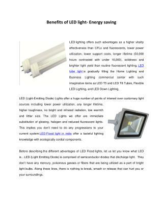 Benifits of LED light- Energy saving