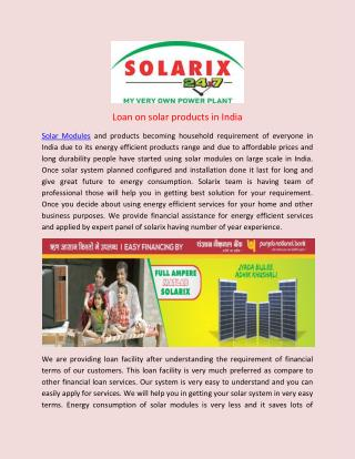 Loan on solar products in India
