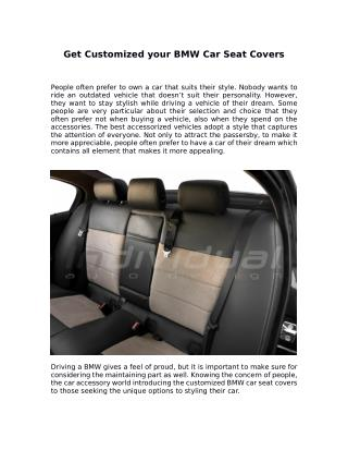 Get Customized your BMW Car Seat Covers