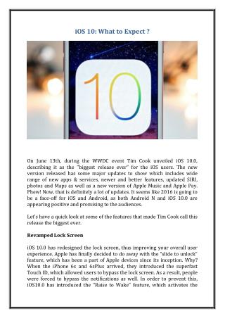 iOS 10: What to Expect ?