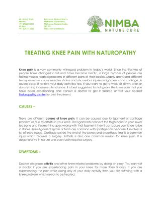 Treating Knee Pain With Naturopathy at Nimba