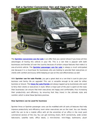 Get a Sprinter Conversion Van and Upgrade Your Life