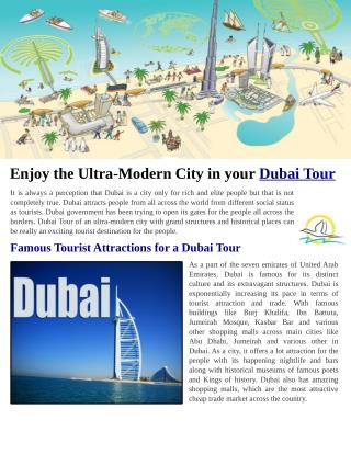 Enjoy the Ultra-Modern City in your Dubai Tour