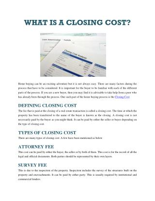 WHAT IS A CLOSING COST?
