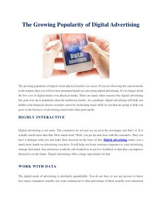 The Growing Popularity of Digital Advertising
