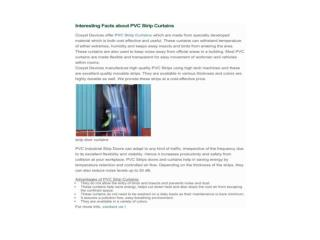Interesting Facts about PVC Strip Curtains