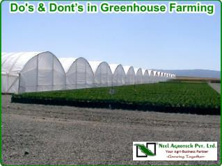 Do's and dont's in greenhouse farming