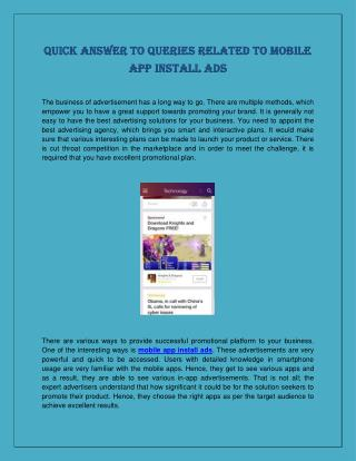 Quick Answer to Queries Related to Mobile App Install Ads