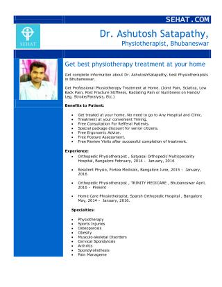 Dr. Ashutosh Satapathy, Best Physiotherapists | Sehat.com