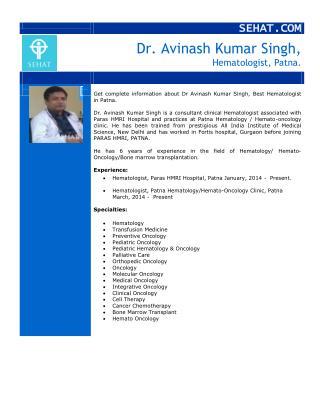 Dr. Avinash Kumar Singh, Best Hematologist | Sehat.com