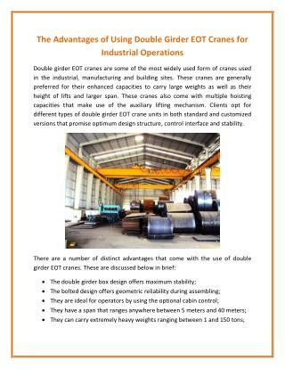 The Advantages of Using Double Girder EOT Cranes for Industrial Operations