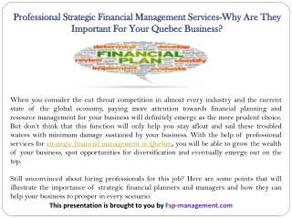 Professional Strategic Financial Management Services-Why Are They Important For Your Quebec Business?