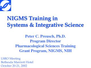 NIGMS Training in Systems  Integrative Science