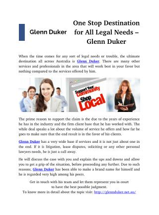 One Stop Destination for All Legal Needs � Glenn Duker