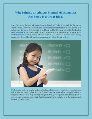 Why Joining an Abacus Mental Mathematics Academy Is a Great Idea?
