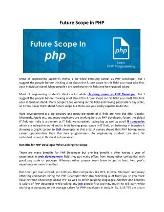 Pro Creations | Future Scope in PHP