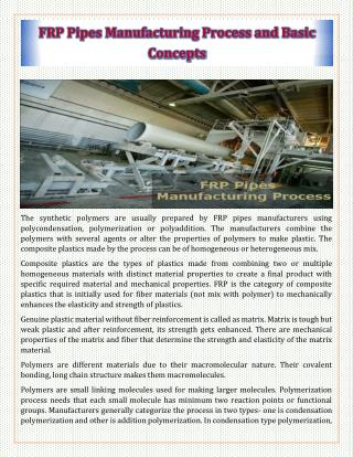 FRP Pipes Manufacturing Process and Basic Concepts