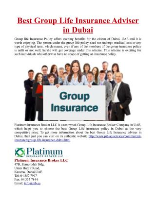 Best Group Life Insurance Adviser in Dubai