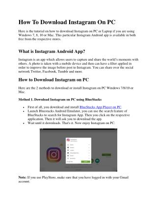 Step by step Instagram download for PC Windows 7, 8, 10 or Mac