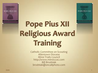 Pope Pius XII Religious Award Training