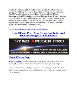 Synd XPoser Pro Review and (Free) GIANT $14,600 BONUS